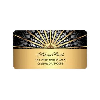 Black White Gold Mandala Pattern Label
