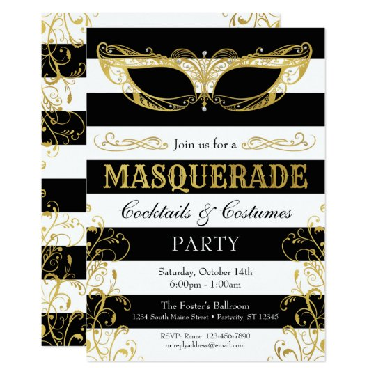 Black White & Gold Masquerade Mask Costume Party