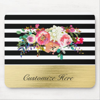 Black White Gold Modern Floral Glam Elegant Chic Mouse Pad