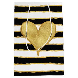 Black White Gold Stripes Heart Medium Gift Bag