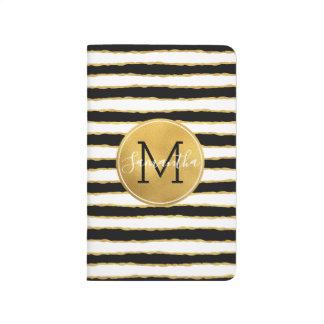 Black White Gold Stripes Monogram Journal