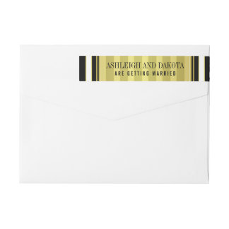 Black White & Gold Stripes Wedding Wrap Around Label