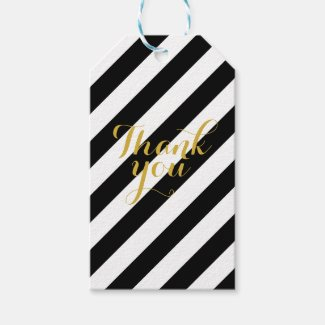 Black & white gold thank you gift tags
