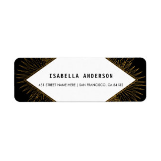 Black White & Gold Tropical Floral Palm Wedding Return Address Label