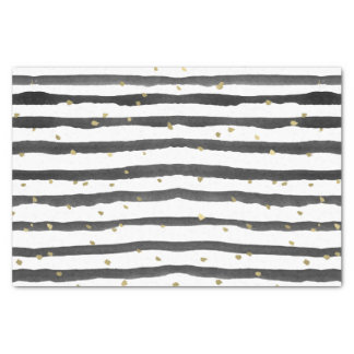 Black White Gold Watercolor Stripes and Dots Tissue Paper
