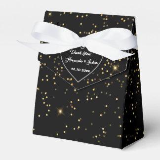 Black White Golden Sparkly Wedding Favor Thank You Party Favour Box