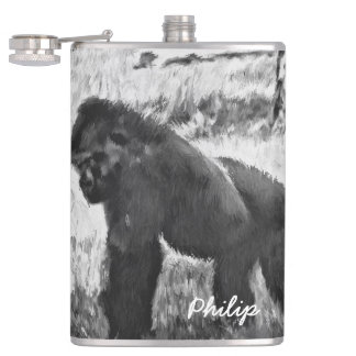 Black&White Gorilla Abstract Custom Flask