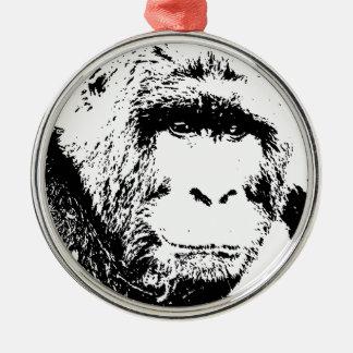 Black White Gorilla Christmas Ornament