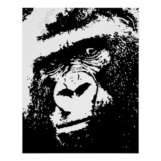 black amp white gorilla face pop art poster print zazzle
