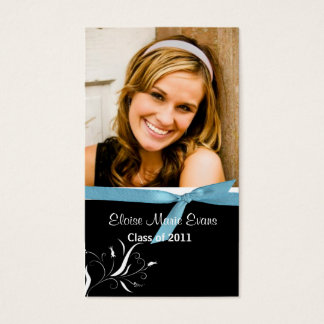 Black & White Graduation Rep card with blue ribbon
