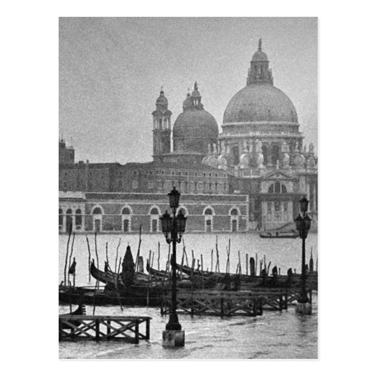Black White Grand Canal Venice Italy Travel Postcard