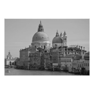 Black White Grand Canal Venice Italy Travel Poster
