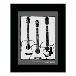 black white graphic acoustic guitars poster