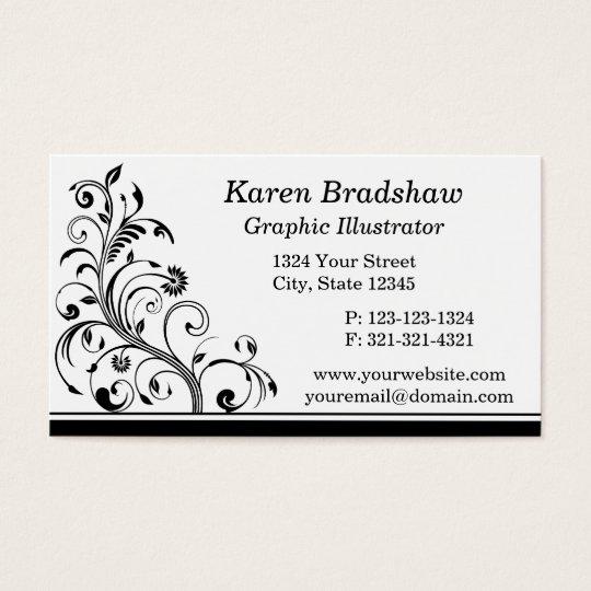 Black & White Graphic Illustrator Business Cards