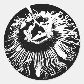Black & White Graphic of a Passion Flower Round Sticker