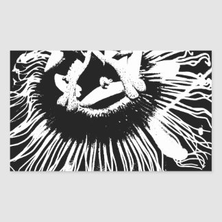 Black & White Graphic of a Passion Flower Sticker