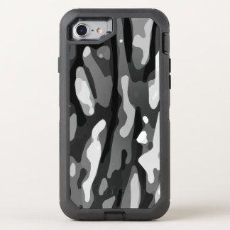 Black White Gray Abstract Pattern OtterBox Defender iPhone 8/7 Case