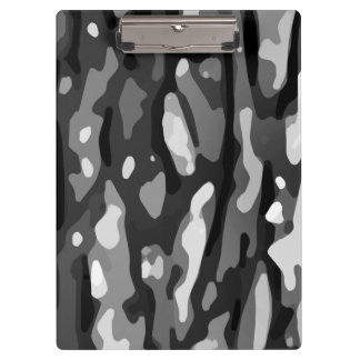 Black White Gray Camo Abstract Pattern Clipboard