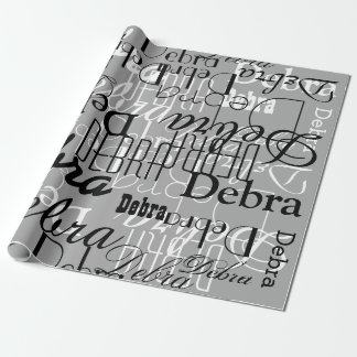 black / white / gray custom pattern of names wrapping paper