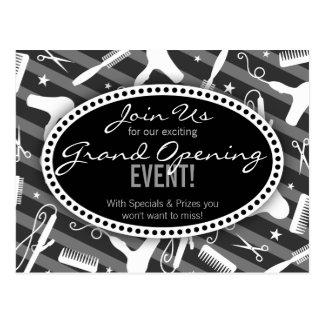 Black White Amp Gray Hair Salon Grand Opening Postcard