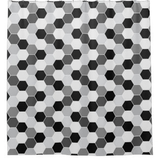 Black White Gray Honeycomb Pattern Shower Curtain