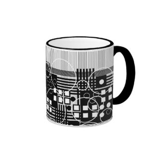 Black White Gray Modern Abstract Design Coffee Mug
