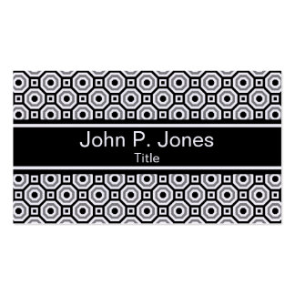 Black/White/Gray Nested Octagon Business Card