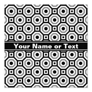 Black/White/Gray Nested Octagon Invitation