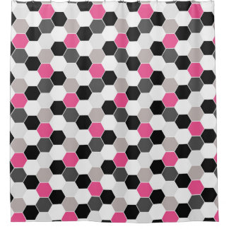 Black White Gray Pink Honeycomb Pattern Shower Curtain