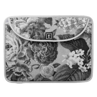 Black & White Gray Tone Vintage Floral Toile No.1 Sleeve For MacBook Pro