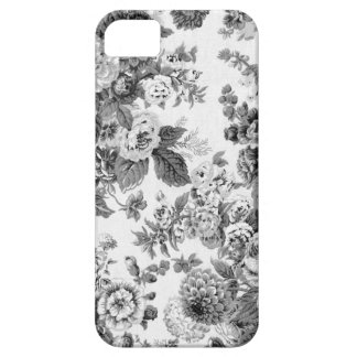 Black & White Gray Tone Vintage Floral Toile No.3 Case For The iPhone 5