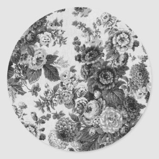 Black & White Gray Tone Vintage Floral Toile No.3 Classic Round Sticker