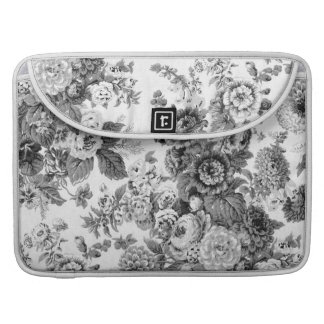 Black & White Gray Tone Vintage Floral Toile No.3 MacBook Pro Sleeves
