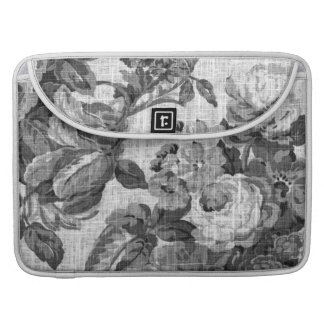 Black & White Gray Tone Vintage Floral Toile No.5 Sleeve For MacBooks