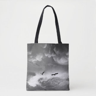 Black & White Great Blue Heron After The Storm Tote Bag
