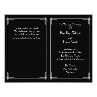 Black White Great Gatsby Art Deco Wedding Programs 21.5 Cm X 28 Cm Flyer