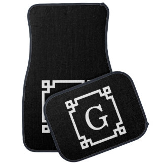 Black White Greek Key #2 Framed Monogram Floor Mat