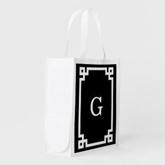 Black White Greek Key 2 Framed Monogram Reusable Grocery Bags