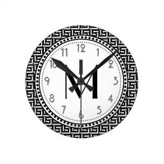 Black | White Greek Key Pattern Monogram Round Clock