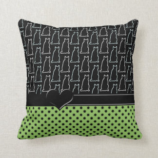 Black & White & Green Cat and Star Pattern Cushion