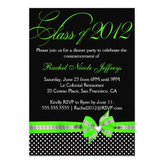 Black White Green Polka Dot Graduation Invitation