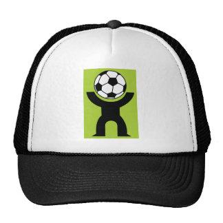 BLACK,WHITE GREEN SOCCER BALL HEAD SPORTS LOGO ICO CAP