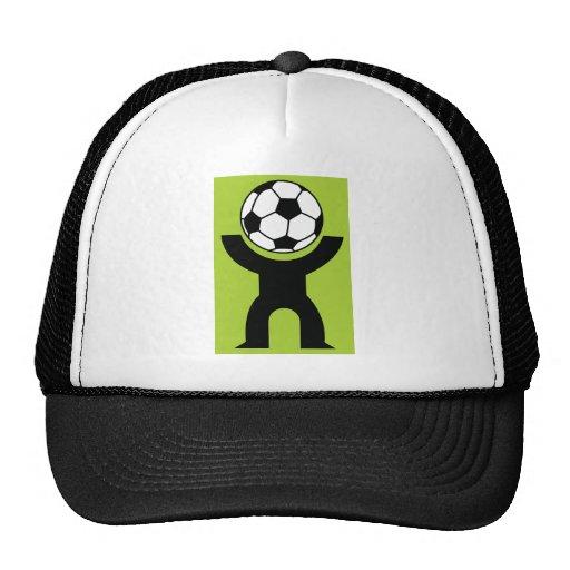 BLACK,WHITE GREEN SOCCER BALL HEAD SPORTS LOGO ICO TRUCKER HATS