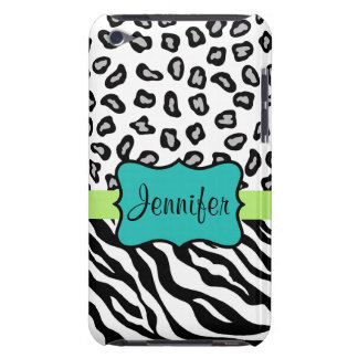 Black White Green & Turquoise Zebra & Cheetah Skin iPod Touch Case-Mate Case