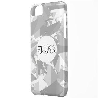 Black white grey angles graphic monogram on white iPhone 5C case