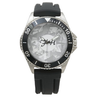 Black white grey angles graphic monogram watch