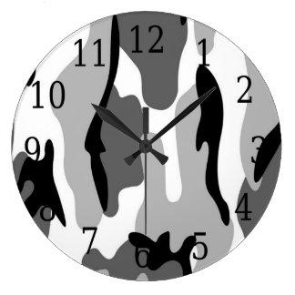 Black White Grey Camouflage Round Clock