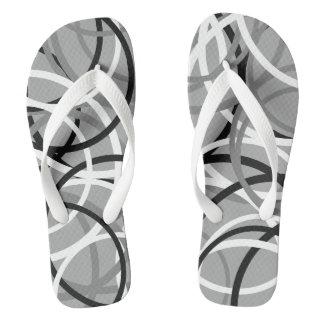 Black/White/Grey Circle Pattern Flip Flops