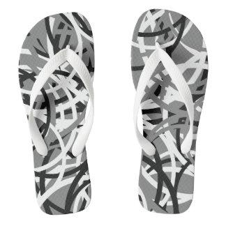 Black/White/Grey Circle Pattern Flip Flops 2