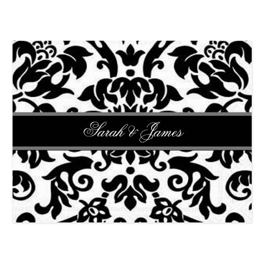 Black white & grey damask Wedding RSVP Postcard